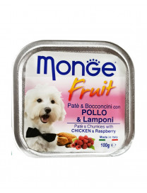 MONGE FRUITS CHICKEN & RASPBERRY 100G