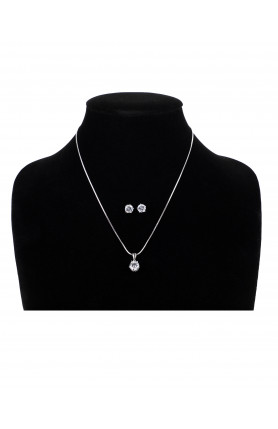 CUBIC ZIRCONIA PENDANT WITH MATCHING EARRINGS SET A