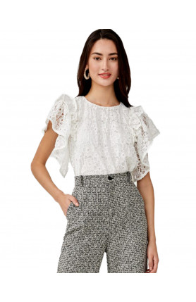 AMARIS LACE RUFFLE SLEEVE TOP - WHITE
