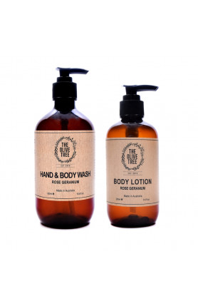 500ML ROSE GERANIUM BODY WASH AND 250ML BODY LOTION BOD..