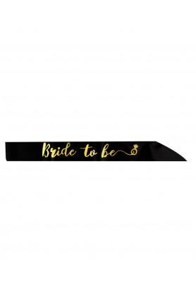 SASH BRIDE TO BE BLACK WITH GOLD WORDS