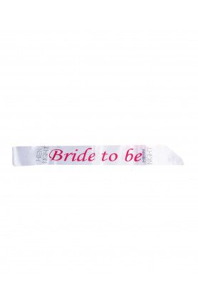 SASH BRIDE TO BE WHITE WITH PINK WORDS