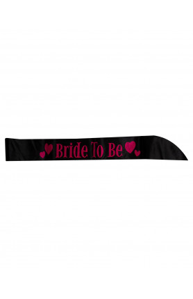 SASH BRIDE TO BE BLACK WITH PINK WORDS