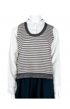 GREY STRIPED KNITTED VEST