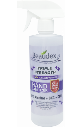 BEAUDEX HAND SANITIZER TRIPLE STRENGTH 500ML