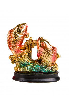 CHINESE CARPS CROSSING OVER THE DRAGON GATE STATUE