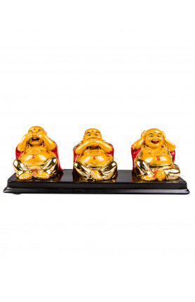 THREE HAPPY BUDDHAS FIGURINES