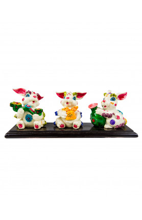 THREE RABBITS TABLE FIGURINES