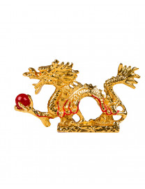 GOLDEN DRAGON WITH A RED PEARL GLOBE STATUE