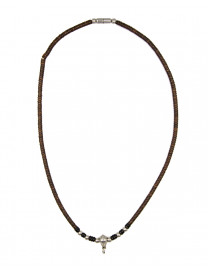 SILVER DETAILED BEAD NECKLACE 25CM