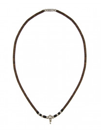 SILVER DETAILED BEAD NECKLACE 29.5CM