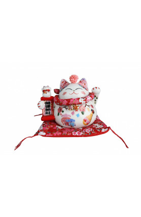 SAKURA COLLECTION FORTUNE CAT WITH JAPANESE STYLE CUSHI..