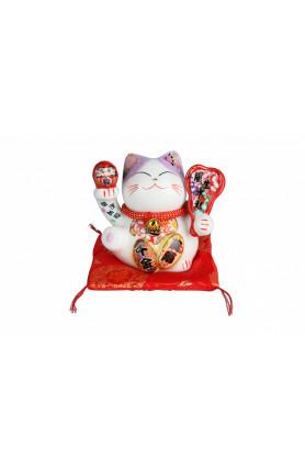 CERAMIC HANDMADE FORTUNE CAT WITH EMBROIDERY RED CUSHIO..