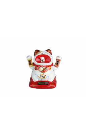 SOLAR POWER CERAMIC HANDMADE FORTUNE CAT