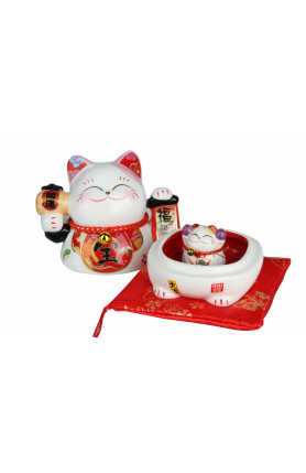 SPECIAL EDITION CERAMIC FORTUNE CAT WITH EMBROIDERY RED..