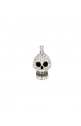 STAINLESS STEEL SKULL PENDANT WITH CUBIC ZIRCONIA
