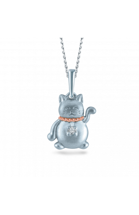 10K GOLD FORTUNE CAT DIAMOND NECKLACE