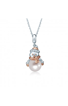 10K GOLD PEARLY SNOWMAN PEARL & DIAMOND PENDANT