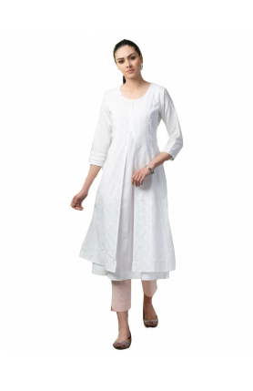 WHITE COTTON MULL CHIKANKARI KURTA SET