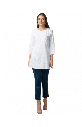 WHITE COTTON CHIKANKARI TUNIC