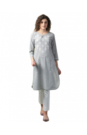 GREY COTTON CHIKANKARI SLIM FIT KNEE LENGTH KURTA