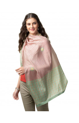 GREEN VISCOSE MODAL PRINTED STOLE