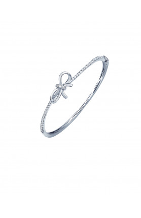 9K WHITE GOLD DIAMOND FELICITY RIBBON BANGLE