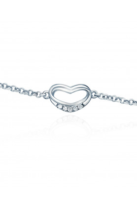 9K WHITE GOLD DIAMOND ADORING HEART BRACELET