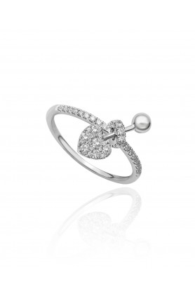 18K WHITE GOLD CUPIDS KISSES DIAMOND RING