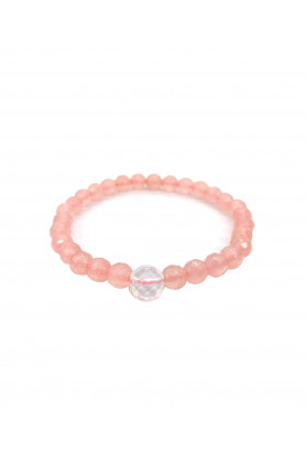 BRACELET -  ROSE QUARTZ WITH CLEAR QUARTZ FACETED