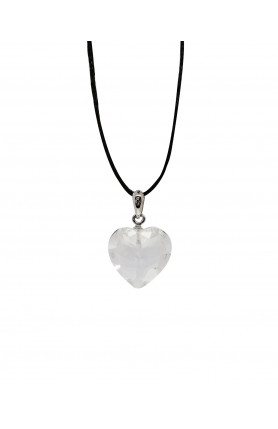 PENDANT - CLEAR QUARTZ HEART FACETED