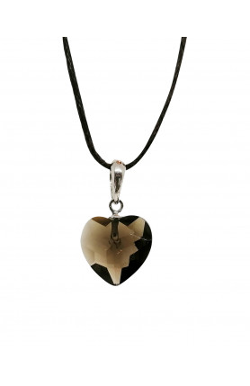 PENDANT - SMOKY QUARTZ HEART FACETED