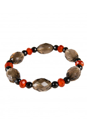 BRACELET - SMOKEY QUARTZ WITH CARNELIAN AND ONYX