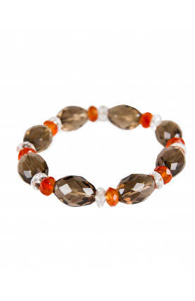 BRACELET - SMOKEY QUARTZ WITH CARNELIAN AND CLEAR QUART..