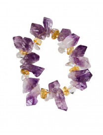 BRACELET - AMETHYST WITH CITRINE AND CLEAR QUARTZ