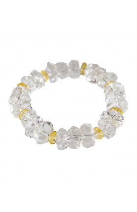 BRACELET - CLEAR QUARTZ WITH CITRINE