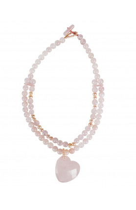 NECKLACE - ROSE QUARTZ WITH PEARLS