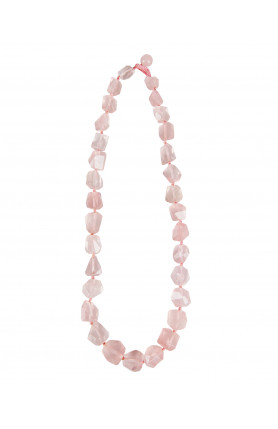 NECKLACE - JEWELED ROSE QUARTZ