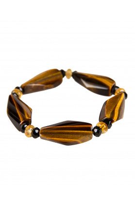 BRACELET - TIGER'S EYE WITH CITRINE AND ONYX