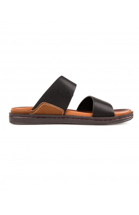 MEN'S BLACK SANDALS WITH BUCKLE DETAIL