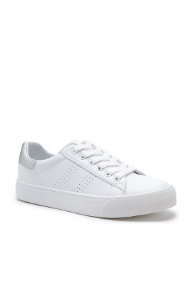 WOMEN'S LACE UP CASUAL WHITE SHOES