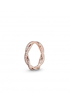 BRAIDED PANDORA ROSE RING WITH CLEAR CUBIC ZIRCONIA