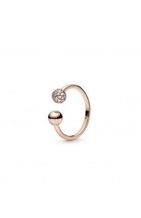 OPEN PANDORA ROSE RING WITH CLEAR CUBIC ZIRCONIA