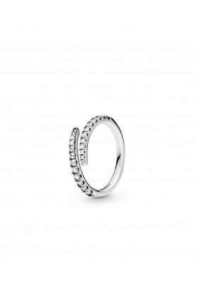 SILVER OPEN RING WITH CLEAR CUBIC ZIRCONIA