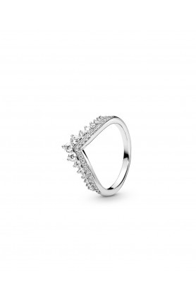 TIARA WISHBONE SILVER RING WITH CLEAR CUBIC ZIRCONIA
