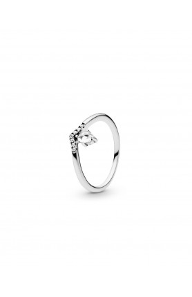 WISHBONE SILVER RING WITH CLEAR CUBIC ZIRCONIA
