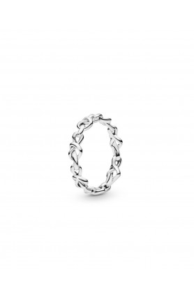 KNOTTED HEARTS SILVER RING