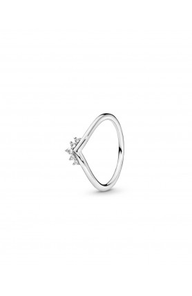 TIARA WISHBONE STERLING SILVER RING WITH CLEAR CUBIC ZI..
