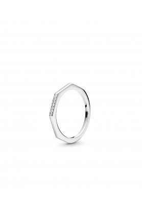 STERLING SILVER RING WITH CLEAR CUBIC ZIRCONIA