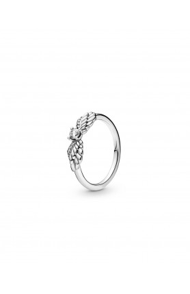 ANGEL WING STERLING SILVER RING WITH CLEAR CUBIC ZIRCON..